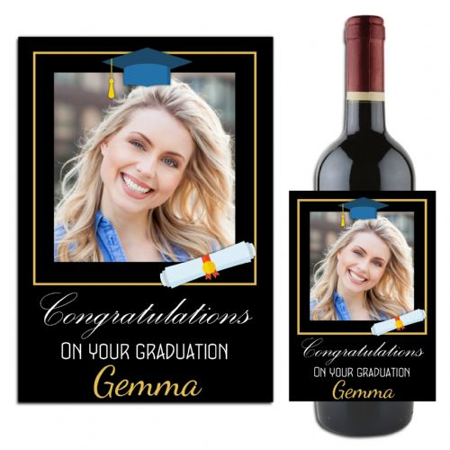 Personalised University College Graduation Wine / Champagne Bottle Label N111